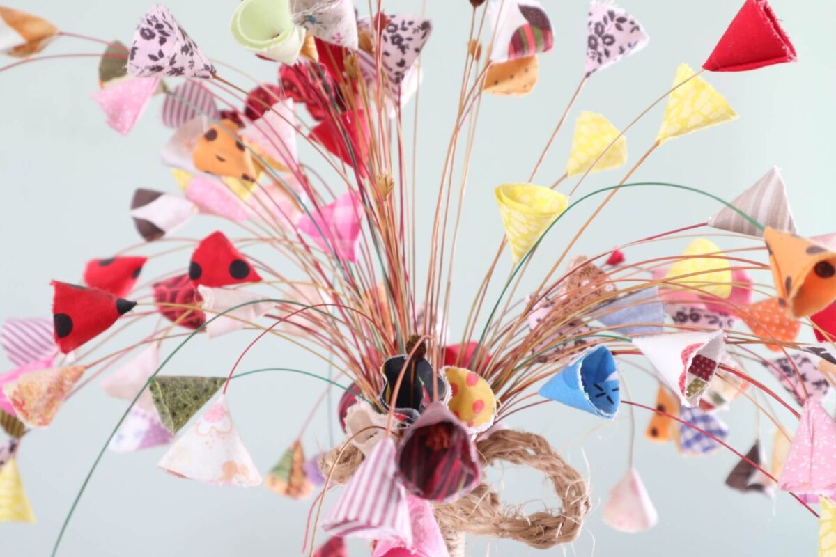 a craft project for adults - flowers made out of fabric