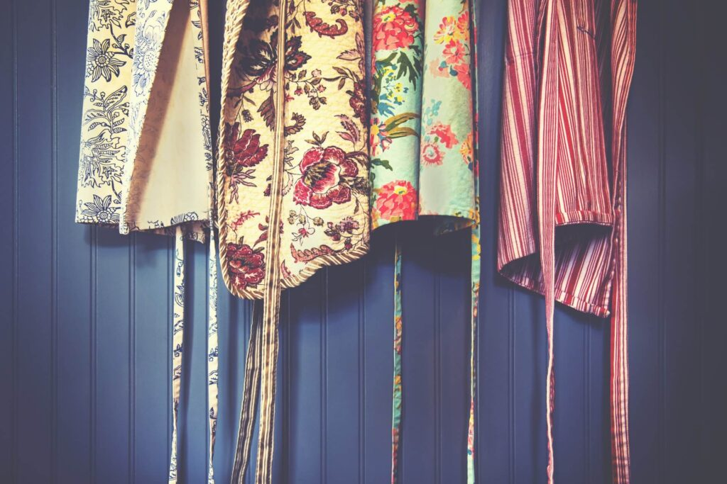 polyester fabric aprons, brightly coloured and patterned